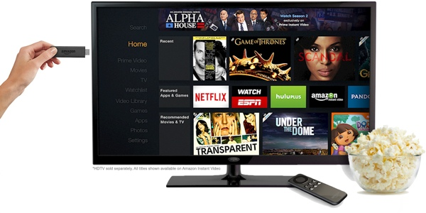 Amazon Fire TV Stick next to a TV