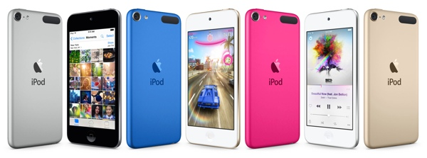 New iPod touch in blue and pink colors