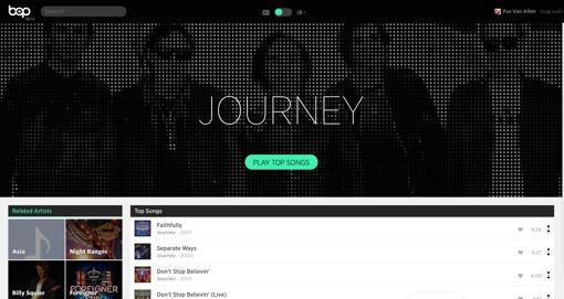 bop.fm's Journey page