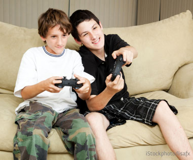 Boys playig video games