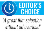 Techlicious Editor's Choice award with pull quote - a great film selection without ad overload