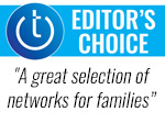 Techlicious Editor's Choice award logo with quote: A great selection of networks for families