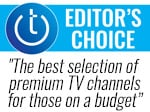 Techlicious Editor's Choice award logo with quote: The best selection of premium TV channels for those on a budget.