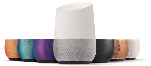 Google Home has interchangeable cloth mesh twist-and-pull removable bases available in seven colors.