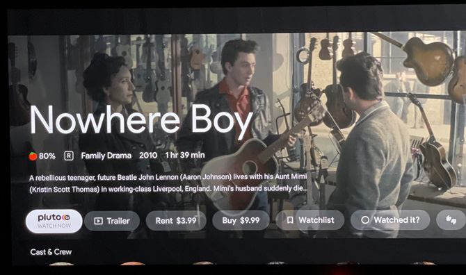 Screenshot of Google TV OS showing pricing for Nowhere Boy.