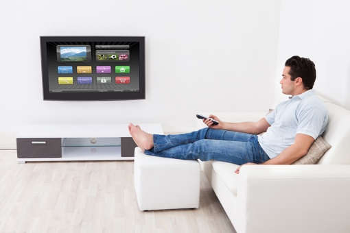 Man Watching Smart TV
