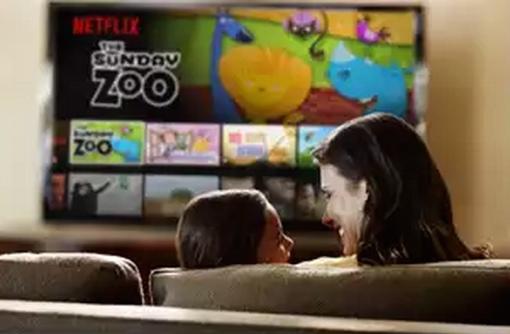 Mom and child watching Netflix