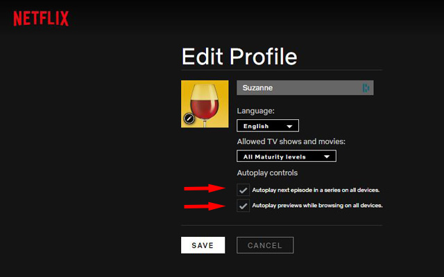 Netflix Edit Profile page