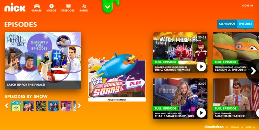 Nickelodeon website screenshot