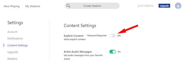 Pandora content filter