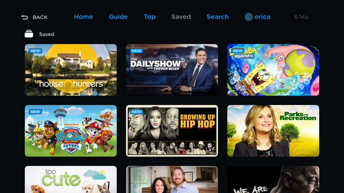 Philo TV screenshot showing House Hunters, The Daily Show, Sponge Bob, Paw Patrol, Growinf up Hip Hop, and Parks and Recreation,