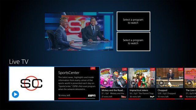 PlayStation Vue Multi-View screen