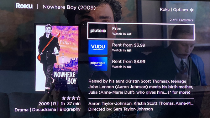 Screenshot of the Roku OS showing pricing for Nowhere Boy