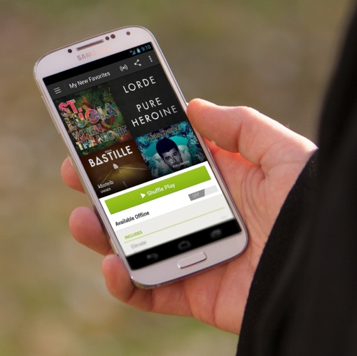Spotify App on a Samsung Galaxy in hand