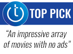Techlicious Top Pick award with pull quote - an impressive array of movies with no ads