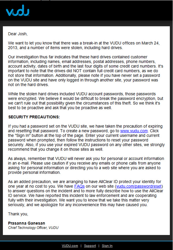 Vudu letter regarding data theft