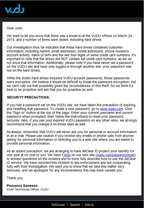 Vudu letter regarding data theft