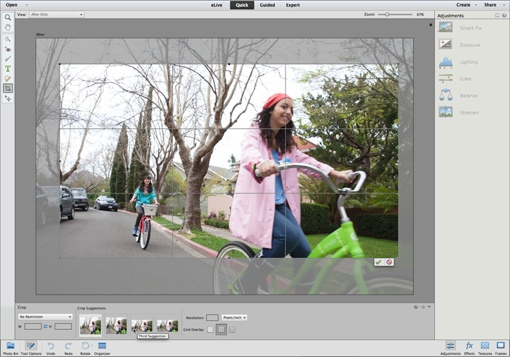 Adobe Photoshop Elements 13 cropping tool