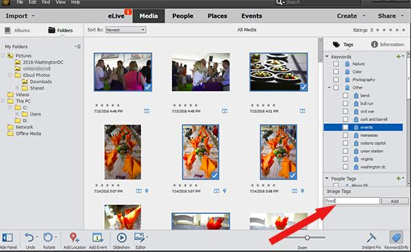 Add a tag in Photoshop Elements