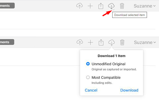 How to choose resolution when downloading from iCloud