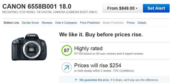 Decide price chart