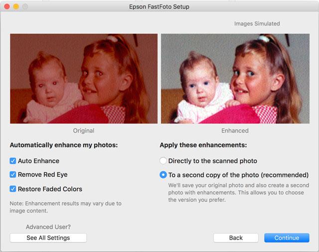 FastFoto enhance settings