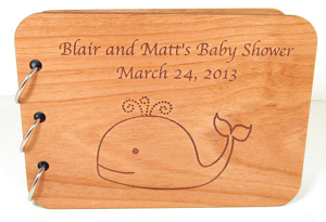 Wood-cover Baby Shower Book