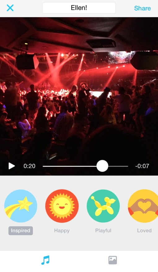 Video created in the Facebook Moments app