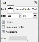GIMP Text Options