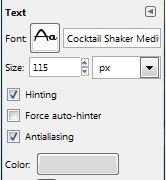GIMP Text Options