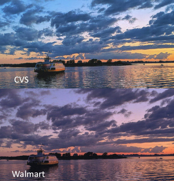 Google Photos print comparison between CVS and Walmart