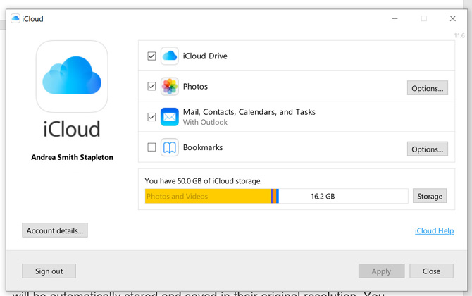 Choose to sync iCloud Photos