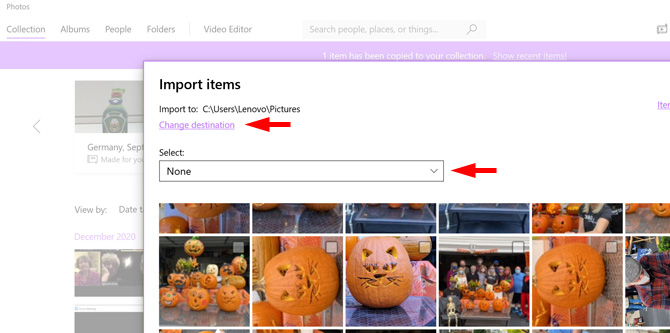 Import iPhone photos to the Photos app on a Windows 10 computer