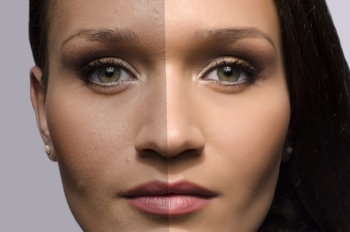Photoshopped female model (before and after)