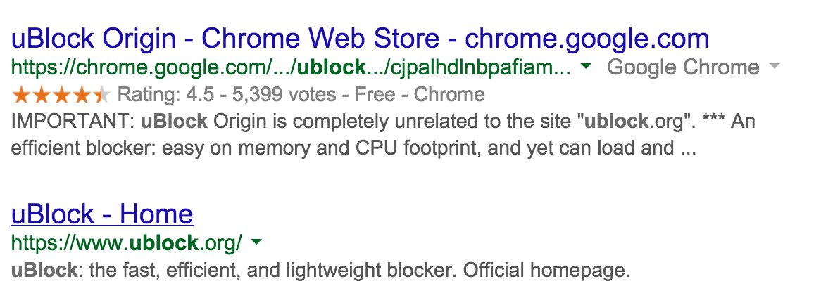 Ublock Google Search