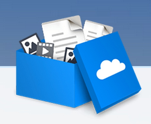 Box with a cloud logo on it filled with files