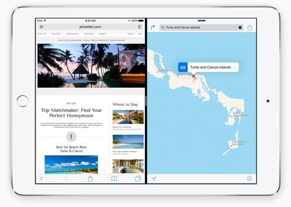 Apple iPad running iOS 9 in Split Screen