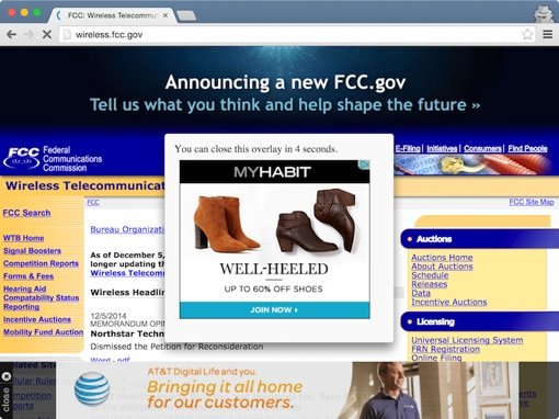 FCC website with ads injected