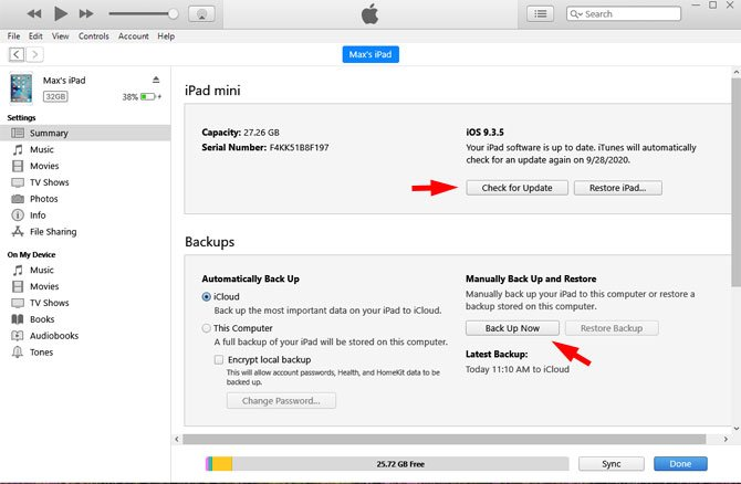 Back up and update your old iPad using iTunes