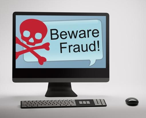 Internet Fraud Warning w/skull and crossbones