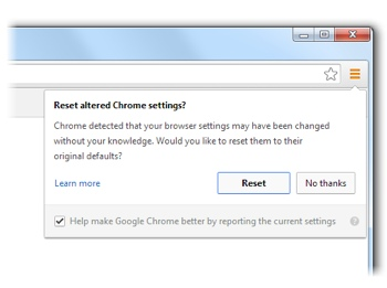 Chrome browser hijack reset