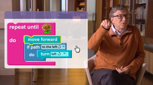 Code.org screenshot of a lesson with Bill Gates
