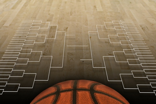 Basketball and brackets painted on the court