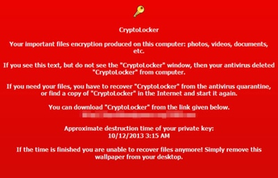 CryptoLocker ransom screen