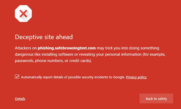 Google Deceptive Site Ahead