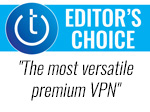 Techlicious Editor's Choice award logo with quote - The most versatile premium VPN.