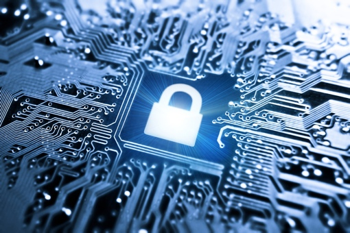 Data encryption concept image, lock on circuit board
