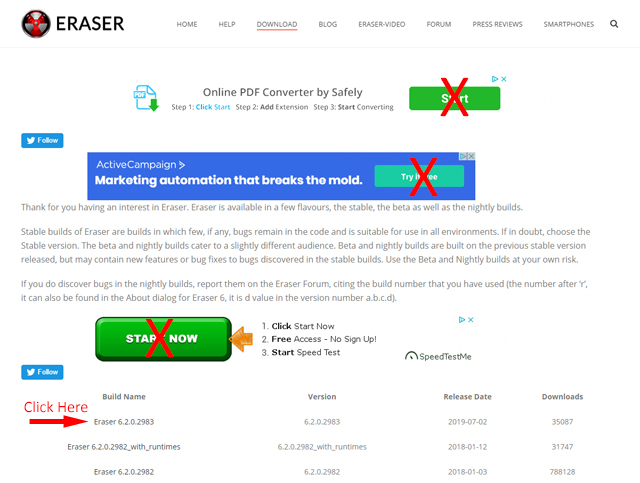 Where to click on the Eraser site