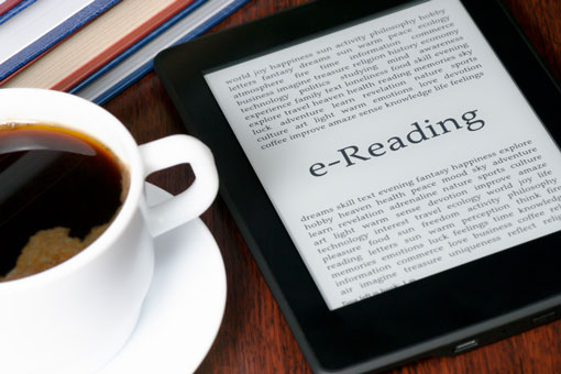 ereader and coffee