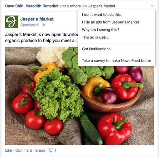 Facebook ad feedback window